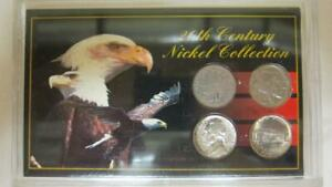 20TH CENTURY NICKEL COLLECTION IN DISPLAY CASE 4 COINS