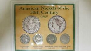 AMERICAN NICKELS OF THE 20TH CENTURY 4 COIN COLLECTION COA DISPLAY CASE