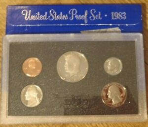 1983 S UNITED STATES PROOF SET   5 COINS PENNY TO HALF DOLLAR   W/ BOX