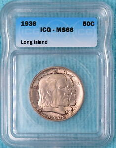 1936 MS 66 LONG ISLAND ONLY 81 826 MINTED CLASSIC COMMEMORATIVE SILVER HALF 2