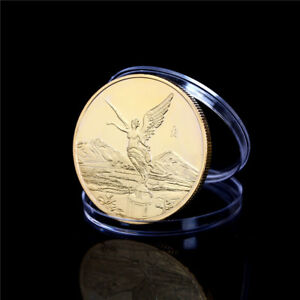 MEXICO GOLD STATUE OF LIBERTY COMMEMORATIVE COINS COLLECTION GIFT FAD BLUS