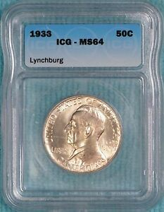 1936 MS 64 LYNCHBURG SESQUICENTENNIAL CLASSIC COMMEMORATIVE HALF 20 013 MINTED 2
