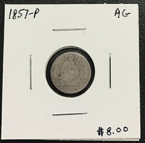 1857 P U.S. SEATED LIBERTY HALF DIME   AG CONDITION  $2.95 MAX SHIPPING  C1575