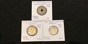LOT OF 3 EARLY 1900'S EGYPT 5 & 10 MILLIEMES 1917   1938   1941