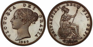 Click now to see the BUY IT NOW Price! BRITAIN VICTORIA. 1839 BRONZED COPPER HALFPENNY. PCGS PR65. KM 726A. S 3949