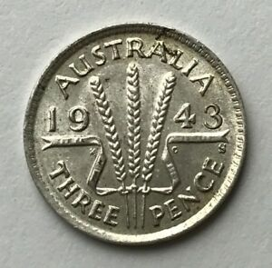 DATED : 1943   SILVER COIN   AUSTRALIA   THREEPENCE   3D   KING GEORGE VI