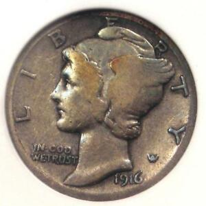 1916 D MERCURY DIME 10C COIN   CERTIFIED ANACS F12    KEY DATE   $2620 VALUE