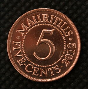 MAURITIUS 5 CENTS COIN 2012. KM52. UNC. AFRICA.