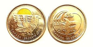 2 X CANADIAN COINS 25C 2011