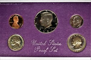 1987 S US MINT 5 COIN PROOF SET COMPLETE WITH BOX SLEEVE 1224