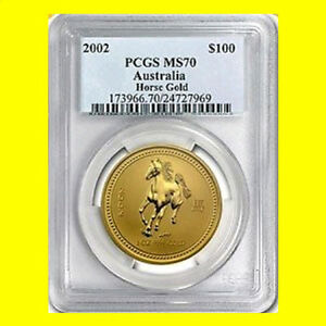 Click now to see the BUY IT NOW Price! 2002 CHINESE LUNAR YEAR OF THE HORSE PCGS MS 70 AUSTRALIA 1 OZ 9999 GOLD POP 18