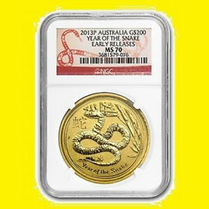 Click now to see the BUY IT NOW Price! 2013 AUSTRALIA 2 OZ COIN 9999 PURE GOLD CHINESE LUNAR SNAKE NGC MS 70 E.R. POP 5