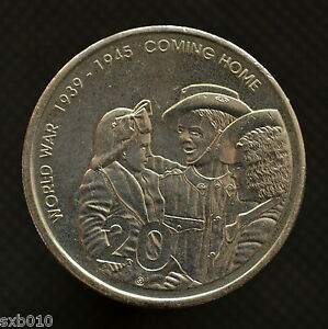 AUSTRALIA 20 CENTS 2005 60TH ANNIVERSARY   END OF WWII KM745 COMMEMORATIVE