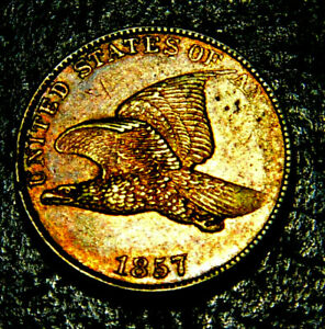 1857 FLYING EAGLE CENT. STUNNING BU/MS  MINT ERROR.  BEAUTIFULY TONED PENNY
