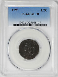 Click now to see the BUY IT NOW Price! 1793 LIBERTY CAP 1/2 PCGS AU 50 BN