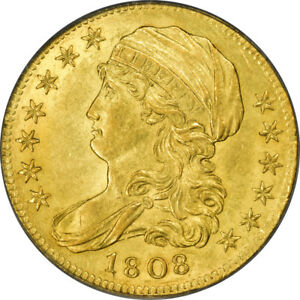 1808 $5 CAPPED BUST HALF EAGLE PCGS MS62 CAC