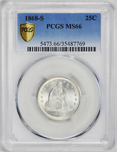 Click now to see the BUY IT NOW Price! 1868 S LIBERTY SEATED 25C PCGS MS 66