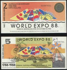 AUSTRALIA WORLD EXPO1988 2 BANKNOTES   2 AND 5 $ UNC