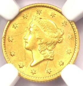 1851 LIBERTY GOLD DOLLAR COIN G$1   CERTIFIED NGC AU DETAIL    COIN