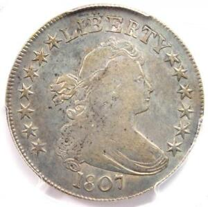 1807 DRAPED BUST HALF DOLLAR 50C COIN   CERTIFIED PCGS VF25   $800 VALUE