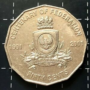 2001 AUSTRALIAN 50 CENT COIN CENTENARY OF FEDERATION   SOUTH AUSTRALIA   S.A VF