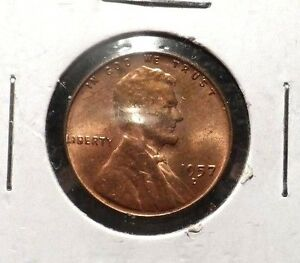 UNCIRCULATED 1957D LINCOLN WHEAT PENNY 10