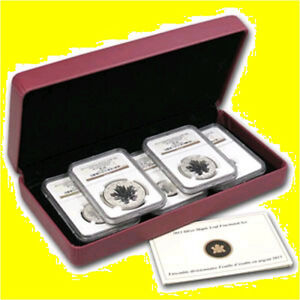 Click now to see the BUY IT NOW Price! 2014 1.9 OZ SILVER CANADIAN MAPLE GILT NGC RV PF 70 UC 5 COIN SET MINT BOX  COA