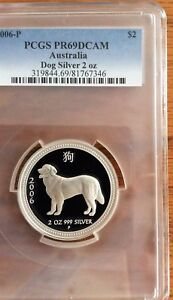 Click now to see the BUY IT NOW Price! AUSTRALIA 2006 DOG LUNAR 1 PROOF SILVER 2 OZ    PCGS PR69DCAM