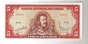 Click now to see the BUY IT NOW Price! 1964  1967   70  CHILE 5 ESCUDOS CHILEAN NOTE P. 138 CRISP UNCIRCULATED UNC CU