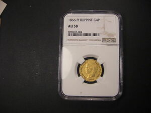 Click now to see the BUY IT NOW Price! 1866  NGC AU58 PHILIPPINES GOLD 4 PESOS .  AND FINEST KNOWN .