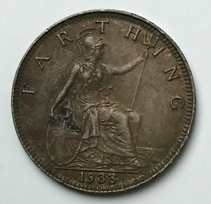 DATED : 1933   ONE FARTHING   COIN   KING GEORGE V   GREAT BRITAIN