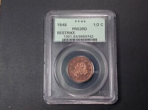 Click now to see the BUY IT NOW Price! 1848 PCGS PR63 RED HALF CENT .  IN RED PROOF.