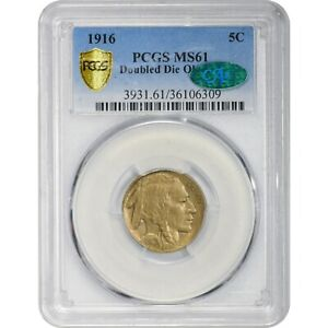 Click now to see the BUY IT NOW Price! 1916 BUFFALO NICKEL.  DOUBLED DIE OBVERSE.  PCGS GRADED MS61 & VERIFIED BY CAC