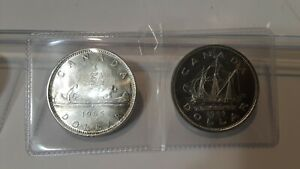 Click now to see the BUY IT NOW Price! 4 CANADA SILVER DOLLARS 1939 PARLIAMENT 1949 SHIP 1958 TOTEM 1965 ELIZABETH