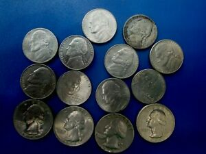 USA COIN 5 CENTS 10 PCS AND 4 QUARTER DOLLAR  T1119