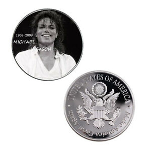 US 999.9 SILVER PLATED METAL COIN MICHAEL JACKSON FAMOUS PERSON COIN CRAFTS