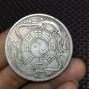1.73IN  CHINA ANCIENT SILVER COIN STATUE SET 44MM 30G   1PCS T5