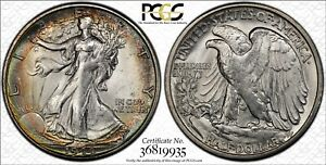 1944 S PCGS MS64 WALKING LIBERTY HALF NICELY TONED WITH TRUEVIEW