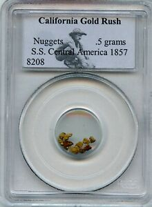 GOLD NUGGETS 0.5 GRAMS S.S CENTRAL AMERICA 1857   PCGS CERTIFIED WITH COA
