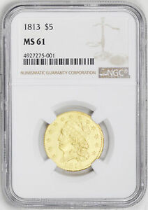 1813 CAPPED BUST $5 NGC MS 61