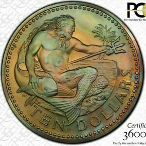 Click now to see the BUY IT NOW Price! 1974 FM BARBADOS $10 DOLLARS PCGS MS66 COLOR TONED HIGHEST GRADED WORLDWIDE
