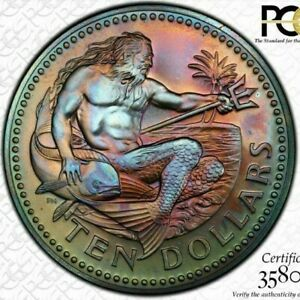 Click now to see the BUY IT NOW Price! 1974 FM BARBADOS 10 DOLLARS  PCGS MS67 COLOR TONED ONLY 4 GRADED HIGHER