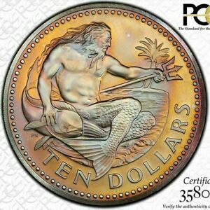 Click now to see the BUY IT NOW Price! 1974 FM BARBADOS 10 DOLLARS MATTE PCGS MS67 COLOR TONED BU UNCIRCULATED