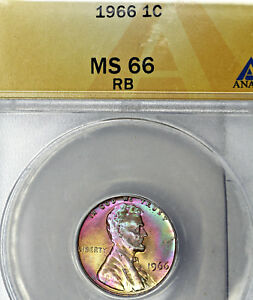 1966 P MS66 RB LINCOLN MEMORIAL CENT 1C ANACS GRADED PASTEL TONED BEAUTY