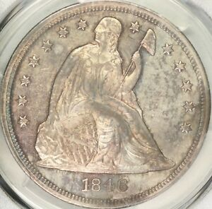1846 SEATED DOLLAR PCGS MS62