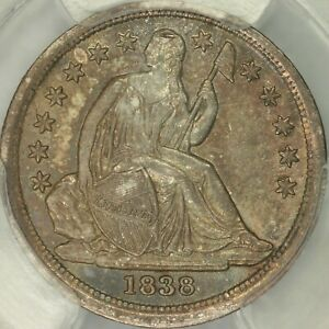 1838 NO DRAPERY LARGE STARS SEATED DIME PCGS MS64