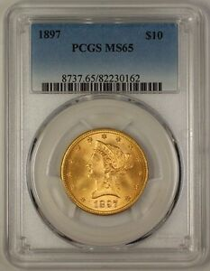 Click now to see the BUY IT NOW Price! 1897 US $10 LIBERTY GOLD EAGLE COIN PCGS MS 65; STONE COLD GEM  JS