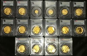 Click now to see the BUY IT NOW Price! 2006 TO  2008 TO 2019 GOLD BUFFALO PROOF SET PCGS PR70 FS  18 COINS ALL PERFECT