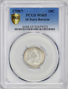 Click now to see the BUY IT NOW Price! 1798/7 DRAPED BUST 10C PCGS MS 65
