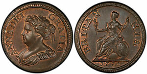 Click now to see the BUY IT NOW Price! BRITAIN ANNE. 1714 CU PATTERN FARTHING PCGS PR66RB TOWER PECK 741. SUPERB GLOSSY